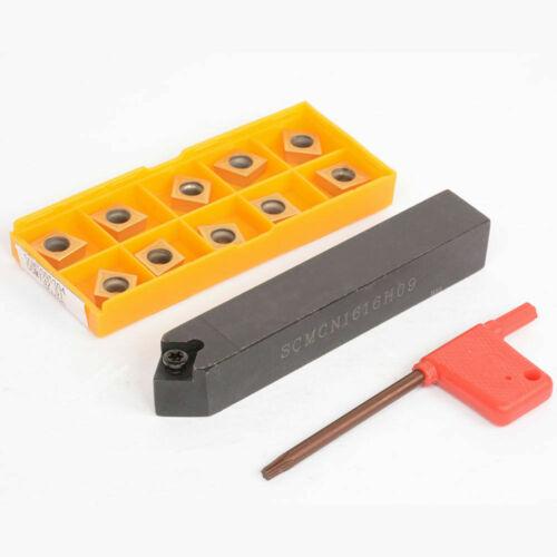 10*CCMT09T304 UE6020 inserts 1*SCMCN1616H09 Lathe External Turning Tool Holder