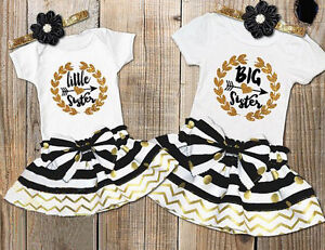 57c8f525122a Cute Baby Girl Little Sister Romper Dress Kid Big Sister T Shirt ...
