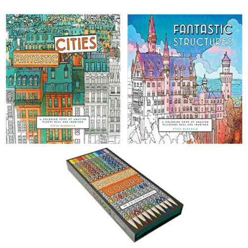 Adult Coloring Book Collection 2 color books 10 Colored Pencils Set Arts Hobby