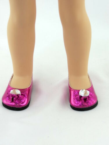 """Hot Pink Rhinestone Shoes Fits 14.5/"""" Wellie Wisher American Girl Doll Shoes"""