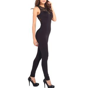 La imagen se está cargando Tuta-donna-pizzo-elegante-jumpsuit-party-nera- overall- 2ea3d8c3e67