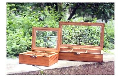 1pc Retro Vintage Wood Wooden Clear Cover Jewelry Box Storage (2 size choice)