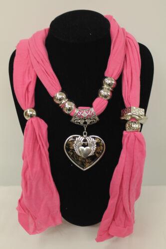 Ladies Charm Diamante Wing HeartPendant Jewellery Necklace Hijab Scarf StoleWrap