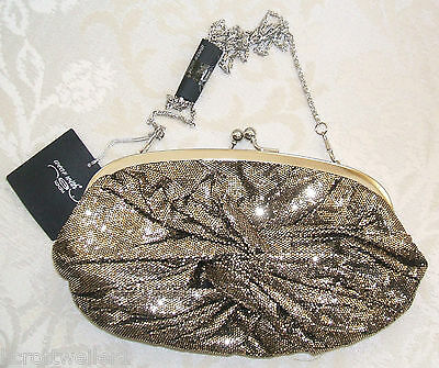HANDBAG WITH BOW CLASP BNWT NEW LOOK SILVER BLACK METALLIC CLUTCH BAG