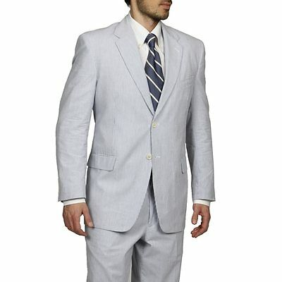 Adolfo Men's Blue/ White Seersucker Suit