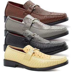 mens new snake skin designer buckle shoes formal faux