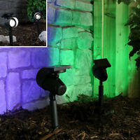2 COLOUR CHANGING & WHITE LED SOLAR OUTDOOR GARDEN PARTY PATH STAKE SPOT LIGHTS