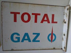Plaque-tole-emaillee-Total-Gaz-Vitracier-Neuhaus-1965-double-face