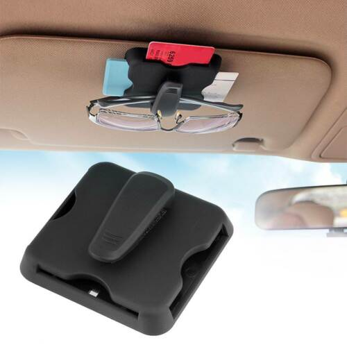 Car Sun Visor Sunshade Card Interior Multi-function Organizer Holder Clip Black