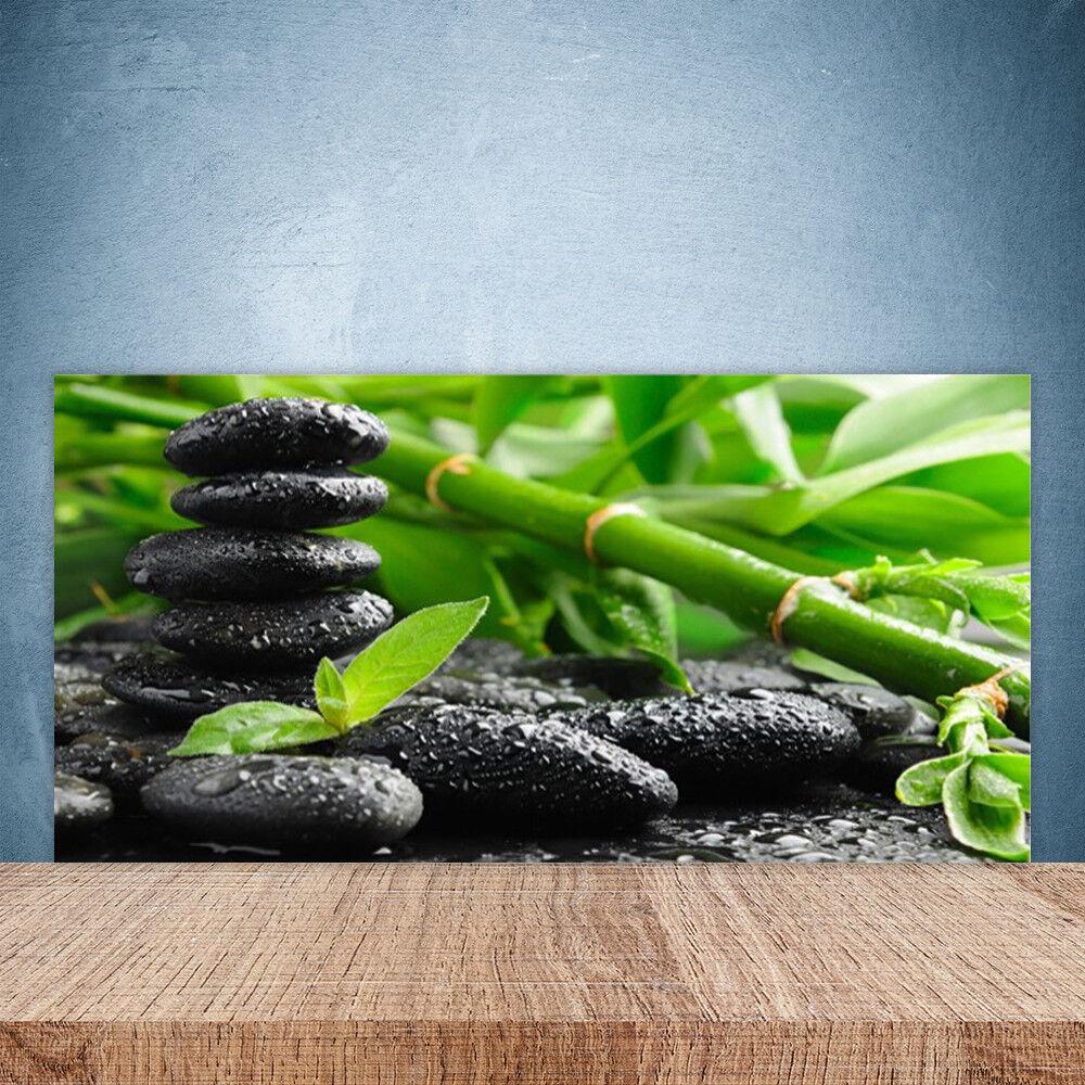 Crédence de cuisine en verre Panneau Paroi 100x50 Floral Bambou Pierres