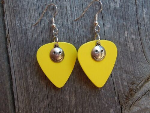 Details about  /Happy Face Charm Guitar Pick Earrings Pick Your Color
