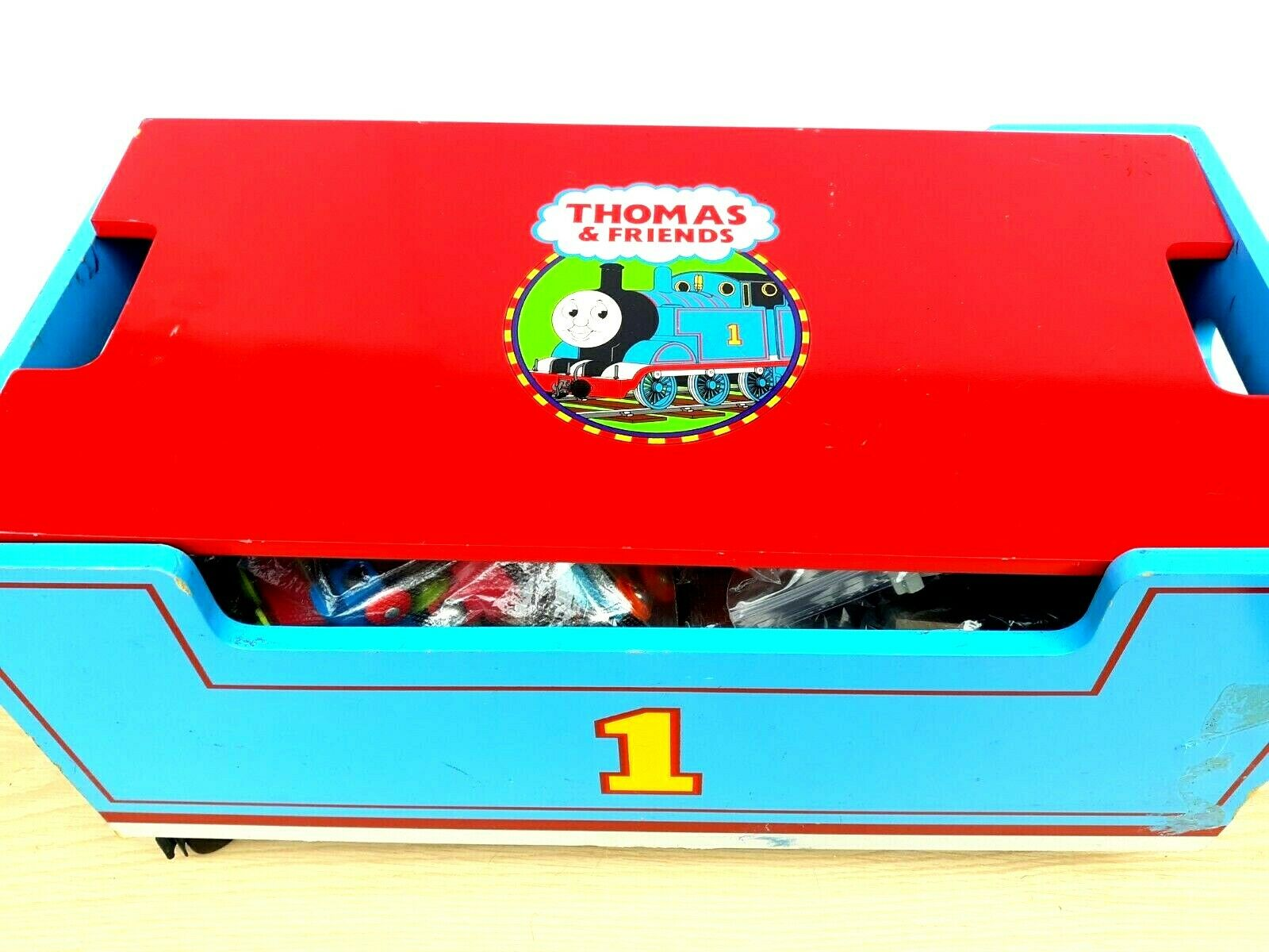 Vintage Thomas The Train Wood Toy Chest Box Storage Bench on Wheels
