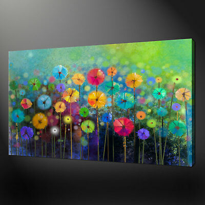GOLDEN ABSTRACT GARDEN LANDSCAPE WALL ART CANVAS PRINT PICTURE SPRING FLOWERS