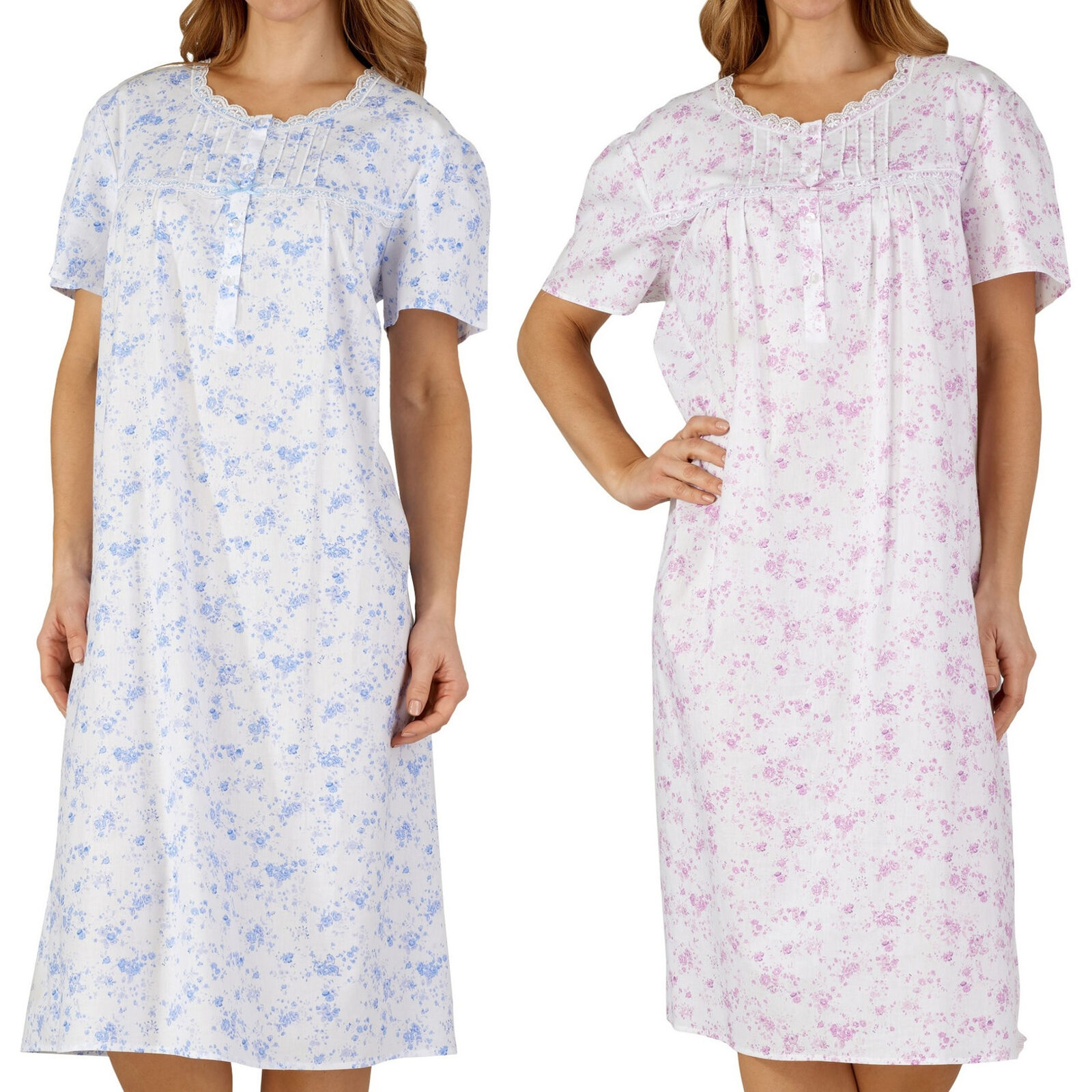 Ladies Night Dress Slenderella Seersucker Stripe Broad Strap Nighty Lace Trim