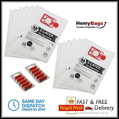 10 x BAGS /& FRESHENERS fit Numatic Henry Hetty Hoover Bags Vacuum Cleaner Cloth