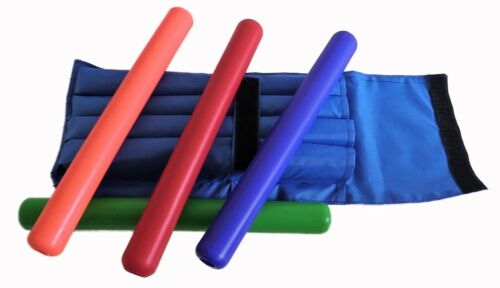 Junior Relay Batons - Plastic With Carry Case For Junior Athletics / Sportsday