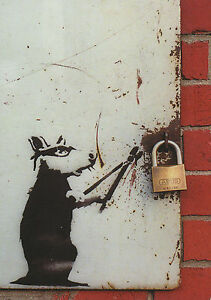 Banksy Postcard size 6034 x 4034 Photo Print Sticker with Rat Cutter - <span itemprop=availableAtOrFrom>Chippenhan, United Kingdom</span> - Returns accepted - Chippenhan, United Kingdom