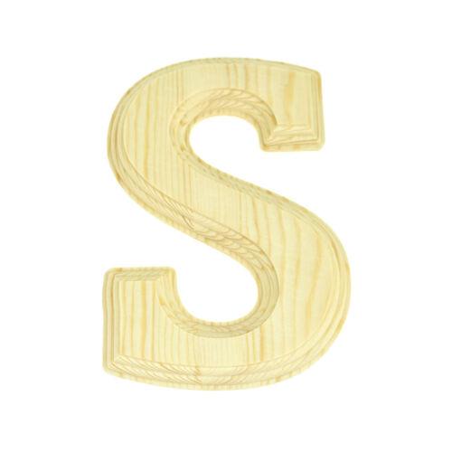 Natural 6-Inch Pine Wood Beveled Wooden Letter S