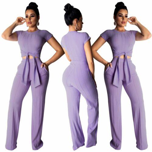 Women/'s Short Sleeve Crop Top Solid Color Long Pants Suit Casual Summer 2pcs