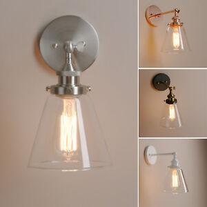 Details About Retro Vintage Sconce Gl Wall Lamp Loft Light Copper Br Fixture