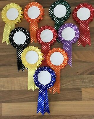 10 X 1 Tier Spotty Fun Rosettes with Blank Centres For Awards FREE 1st Class