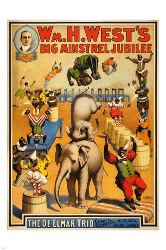 vintage circus poster MINSTREL JUBILEE 24X36 acrobatic BLACK CLOWNS prized