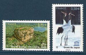 SERVICE-157-158-NEUF-GOMME-ORIGINALE-SIGIRIYA-SRI-LANKA-GRUES-DU-JAPON
