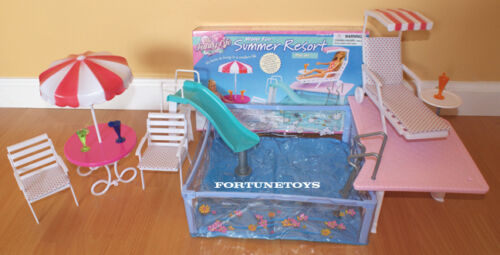 GLORIA DOLL HOUSE FURNITURE WATER FUN SUMMER RESORT W// POOL PLAYSET FOR Dolls