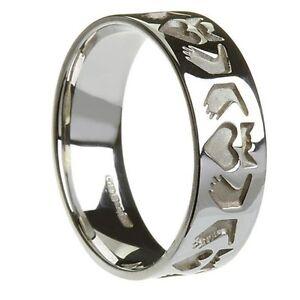 Sterling-Silver-Men-039-s-Friendship-Claddagh-Ring-7-1mm