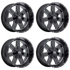 "Set 4 20"" Vision 411 Arc Black Milled Chevy GMC 8 Lug Truck Wheels 20x9 8x6.5"