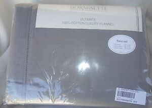 Dormisette-German-LUXURY-flannel-Sheet-Set-TWIN-SILVER-GRAY-NEW