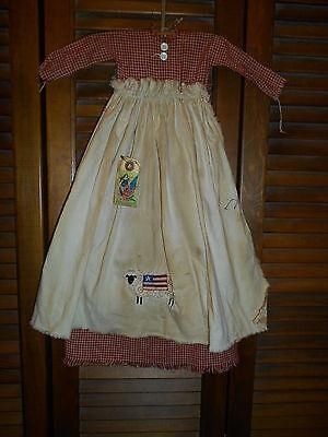 Primitive Wall Decor Dress RED CHECK W/APRON Americana,Flag,Sheep,Grungy,July 4