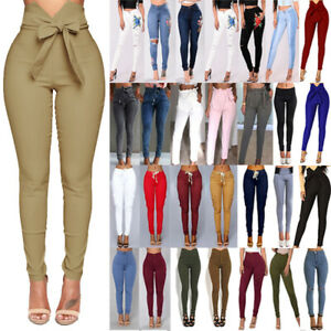 Womens-High-Waisted-Jeans-Floral-Trousers-Stretchy-Ripped-Skinny-Slim-Fit-Pants