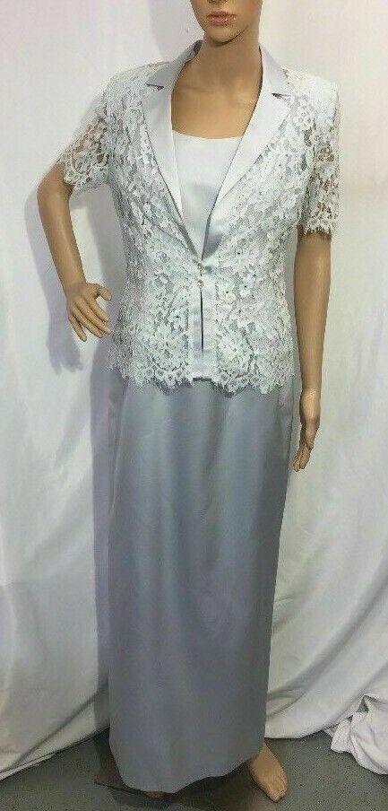 Women's Ever Beauty Formal Long Dress w/ Lace Jacket w/ Rhinestones, Size 8 EUC