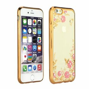 Apple iPhone Schutzhülle Handyhülle Silikon TPU Cover Metallic Strass