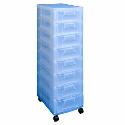 'REALLY USEFUL STORAGE BOXES' 8 x 7 LITRE CLEAR TOWER CLEAR DRAWERS NEW +24h DEL