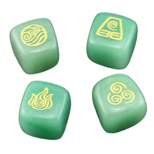 4X Natural Crystal Stone Religious Runes Polished Engraved Home Decor Green