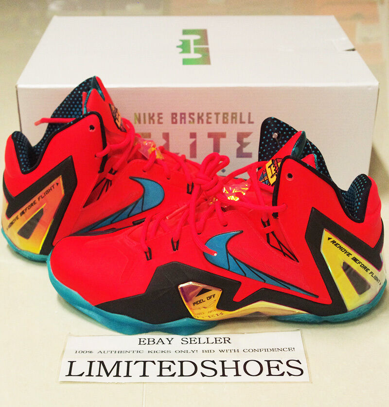NIKE LEBRON XI ELITE SUPER HERO PACK LASER CRIMSON 642846-600 what the xiii id