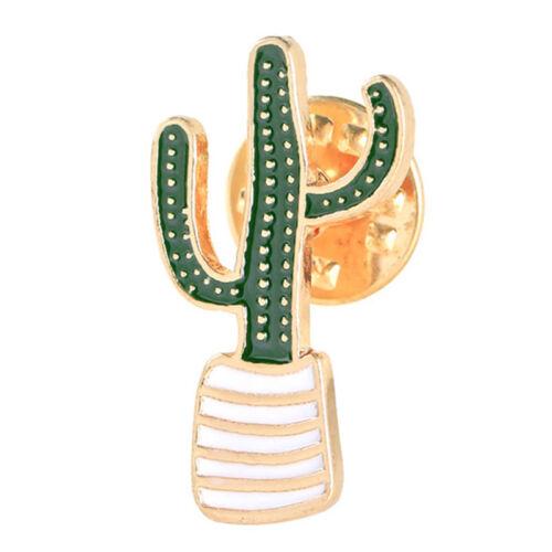 3Pcs//Set Enamel Plant Potted Cactus Collar Brooch Pin Badge Clothing Cartoon Kf