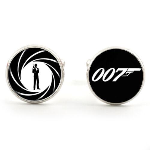 007 JAMES BOND CUFFLINKS SILVER PLATED 1ST CLASS POST /& FREE GIFT BOX