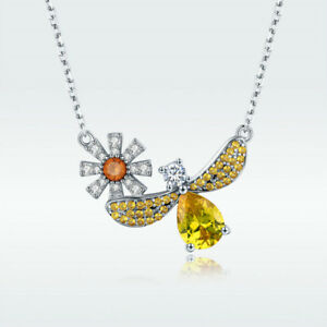 Sterling-Silver-925-Gold-Plated-Bumble-Bee-Honey-Daisy-Necklace-Pendant-Chain