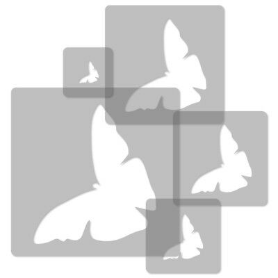 Capable 5x Reusable Plastic Stencils Butterfly 2 34x34cm To 9x9cm Nursery Template
