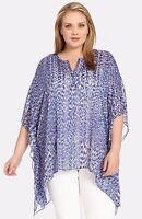 Karen Kane Women's Plus Size Blue Reflection Print Scarf Sheer Top Size 0x