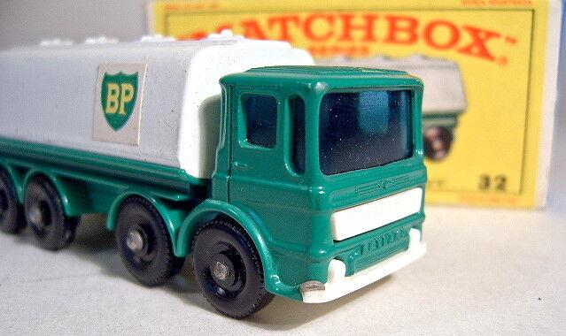 suministro de productos de calidad Matchbox Matchbox Matchbox N ° 32 quater Leyland Tanker verde blancoo  Bp  de plástico blancoo Base mint boxed  Ahorre 35% - 70% de descuento