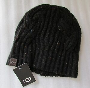 Image is loading UGG-Hat-Beanie-Crochet-Cable-Knit-Black-NEW 41fec7b88c1
