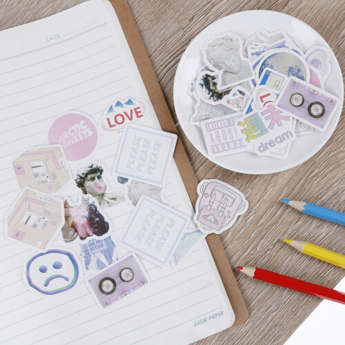 46 Pcs//box Cute Vaporwave Label Kawaii Diary Adhesive Paper  Flake Sticker.USTOS
