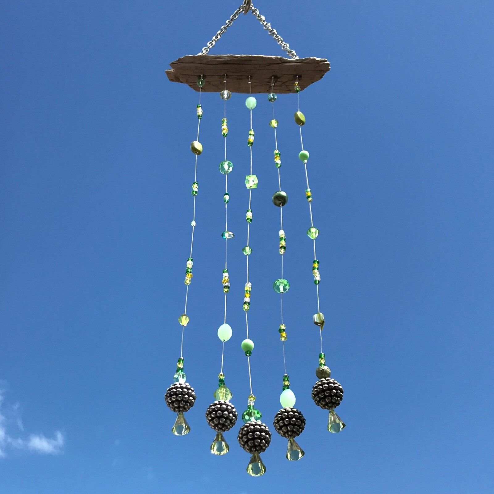 New Rustic Beaded Wind Chime Hanging Mobile ~ Green and Silver Colour ~ Long