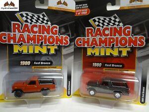 Racing-Champions-Mint-1980-Ford-Bronco-Set-of-2-Titanium-amp-Orange-1-of-1968