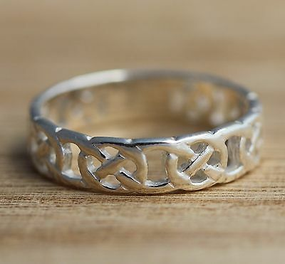 Solid 925 Sterling Silver Celtic Knot Oxidized Band//Thumb Ring M-Z+1 Sizes 6.5mm