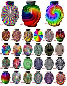 Hypnotism-Colourful-3D-Print-Women-Men-039-s-Hoodie-Sweatshirt-Pullover-tops-Jumper
